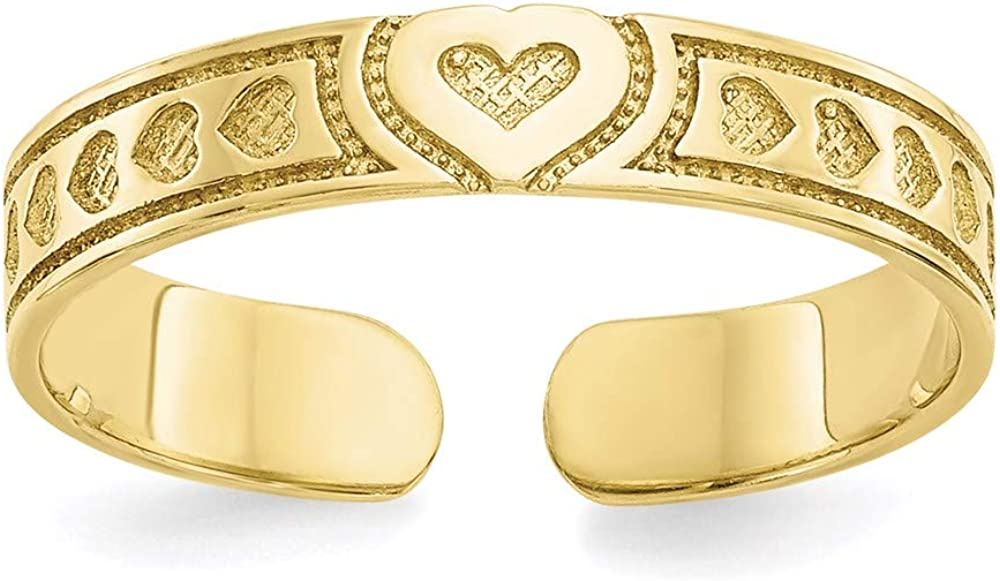 10k Yellow Gold Heart Adjustable Cute OFFicial site Latest item Fine Toe Ring Jewelry Set