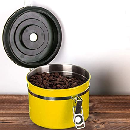Mr.Coffee 1200ml Stainless Steel Sealed Food Coffee Grounds Bean Storage Container with Built-in CO2 Gas Vent Valve & Calendar(Black) (Color : Yellow)