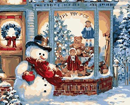 YEESAM ART Pintura por números para adultos principiantes, niños, el muñeco de nieve fuera de la ventana, 40,6 x 50,8 cm, lienzo de lino, acrílico, sin estrés, menos número, pintura de regalos
