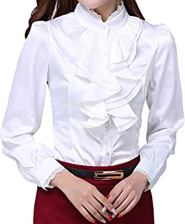 JHVYF Womens Bow Tie Neck Blouse Long Sleeve Casual Work Office Tops Button Down Shirts