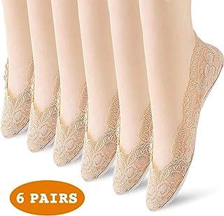 6 Pairs Women's Lace No Show Socks Ultra Low Cut Liner Socks Non Slip Hidden Ankle Socks Invisible Boat Socks