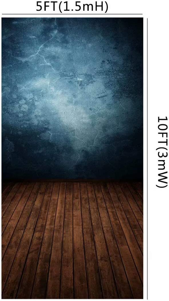HuaYi Vinyl Old Blue Texture Pattern Decoration Vintage Brown Wood Planks Floor Background Photography Art Fabric Backdrops for Kids Adults Portrait Photoshoot Photography US-XT-3324-6/×8ft