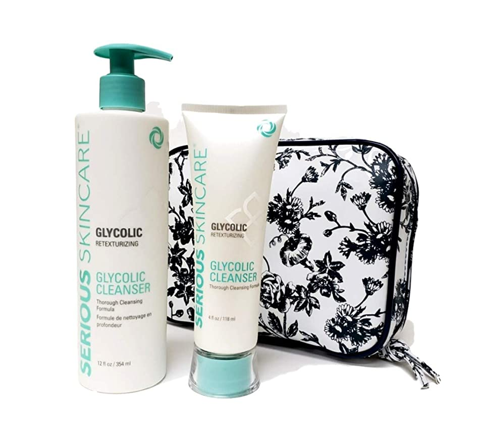 Serious Skincare Glycolic Cleanser Home & Away DUO with White Stargazer Toile Print Fold Open Cosmetic Case