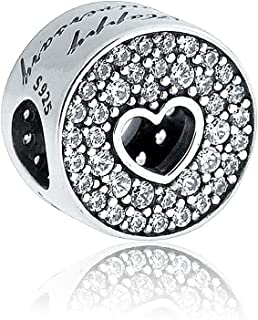 Christmas Gift Happy Anniversary Charm S925 Clear CZ Love Heart Beads for Pandora Bracelet&Necklace