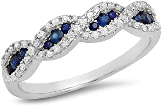 10K Gold Blue Sapphire & White Diamond Bridal Swirl Stackable Anniversary Wedding Band
