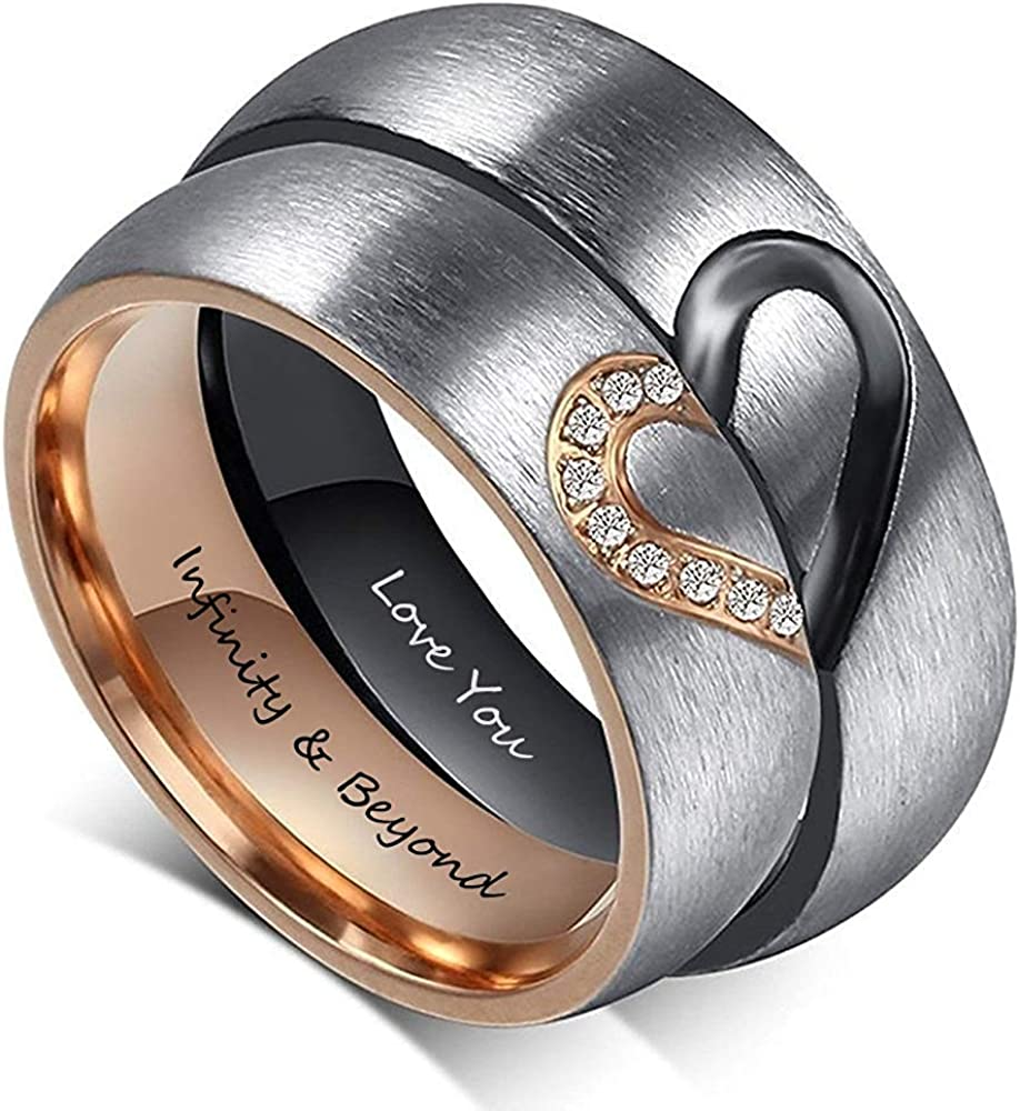 OPALSTOCK Personalized Matching Heart Promise Rings His & Hers Engagement Anniversary Couples Rings Set