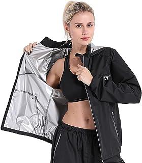 DNRZY F.I.T سويت ساونا بدلة فقدان الوزن للرجال والنساء ، كم طويل مقاوم للماء أسود تجريب الملابس مقنعين سترة سراويل للرجال ...