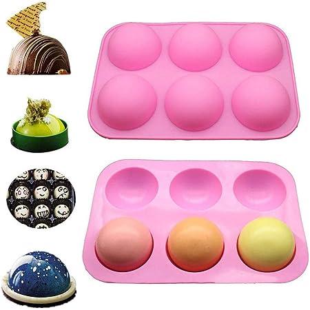 2 PCS 6 Cavity Half Ball Sphere Cake Silicone Mold For Baking Fondant Chocolate