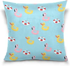 """MASSIKOA Flamingo Duck Swim Ring Decorative Throw Pillow Case Square Cushion Cover 16"""" x 16"""" for Couch, Bed, Sofa or Patio..."""