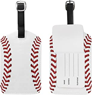 2PCS Leather Sport Baseball Lace Print Luggage Tags Travel Baggage Labels Bag Tag