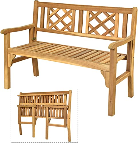 2021 Giantex Patio Wooden Bench, 4 Ft Foldable Acacia Garden Bench, Two Person Loveseat Chair Solid with Curved Backrest and Armrest Ideal online sale for Patio, Porch or Balcony wholesale (Teak) sale