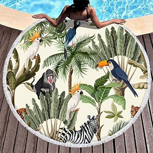Gamoii Rund Strandtücher Badetuch Bäume und Tier Tukan Zebra Picknickdecken Strandmatte Mikrofaser Handtücher Saugstark Tapisserie mit Fransen für Kinder Damen Pool Strand White 150 cm
