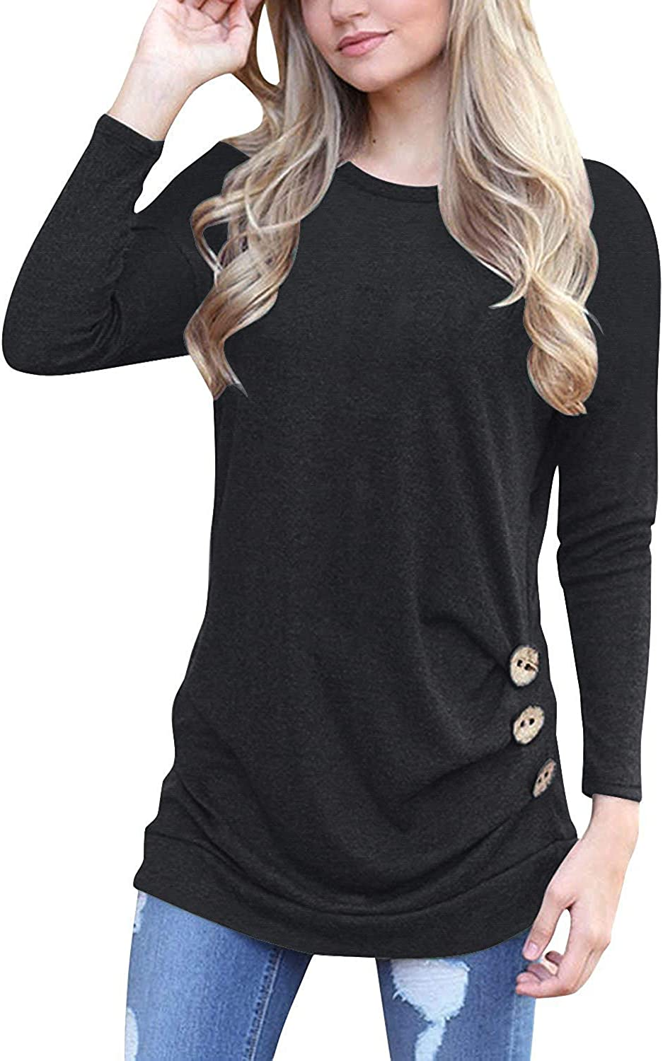Muhadrs Womens Long Sleeve Casual Ranking TOP16 Round Top Loose Neck Tunic Weekly update Blo