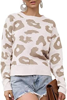 GAMISOTE Womens Leopard Crop Sweaters Fall Long Sleeve Loose Fitting Pullover Jumper
