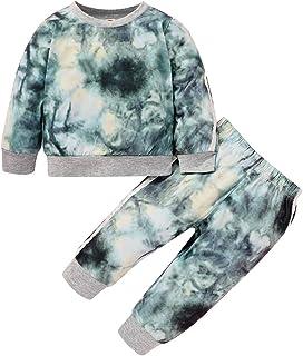 Toddler Baby Boy Girl Tie Dye Outfit Sweatshit Tops + Sweatpants 2Pcs Sweatsuit Tracksuit Clothes Pant Sets