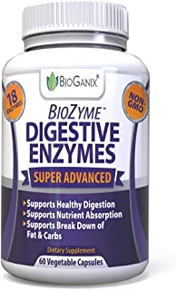 BioGanix Digestive Enzyme Supplement with Natural Papaya, Lactase, Protease, and Amylase, 60 Vegetable Capsules