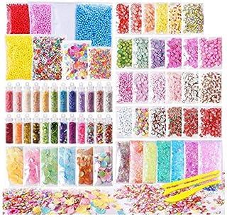 72 Pack Slime Stuff Charms Include Floam Balls, Slime Supplies Kit, Glitter, Cake Flower Fruit Slices, Fishbowl Beads, She...