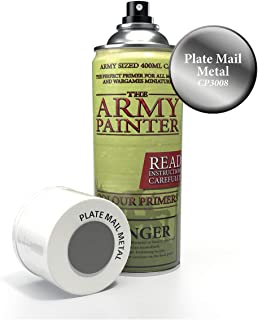 The Army Painter Color Primer, Plate Mail Metal, 400 ml, 13.5 oz - Acrylic Spray Undercoat for Miniature Painting