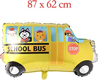 Big Toy Car Foil Ballon Kids Baby Shower Boy Tank Plane Ambulance Bus Fire Truck Birthday Party Decoration Train Cars Balloons (School Bus)