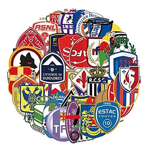 YACHAO 55 Piezas Pegatinas de Club de fútbol monopatín Pegatinas de Dibujos Animados de fútbol Maleta Coche portátil teléfono