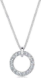 Elli Ladies 925Silver Karma Swarovski Crystals Diamond Cut Circle Pendant Necklace of Length 45cm0110762414_45