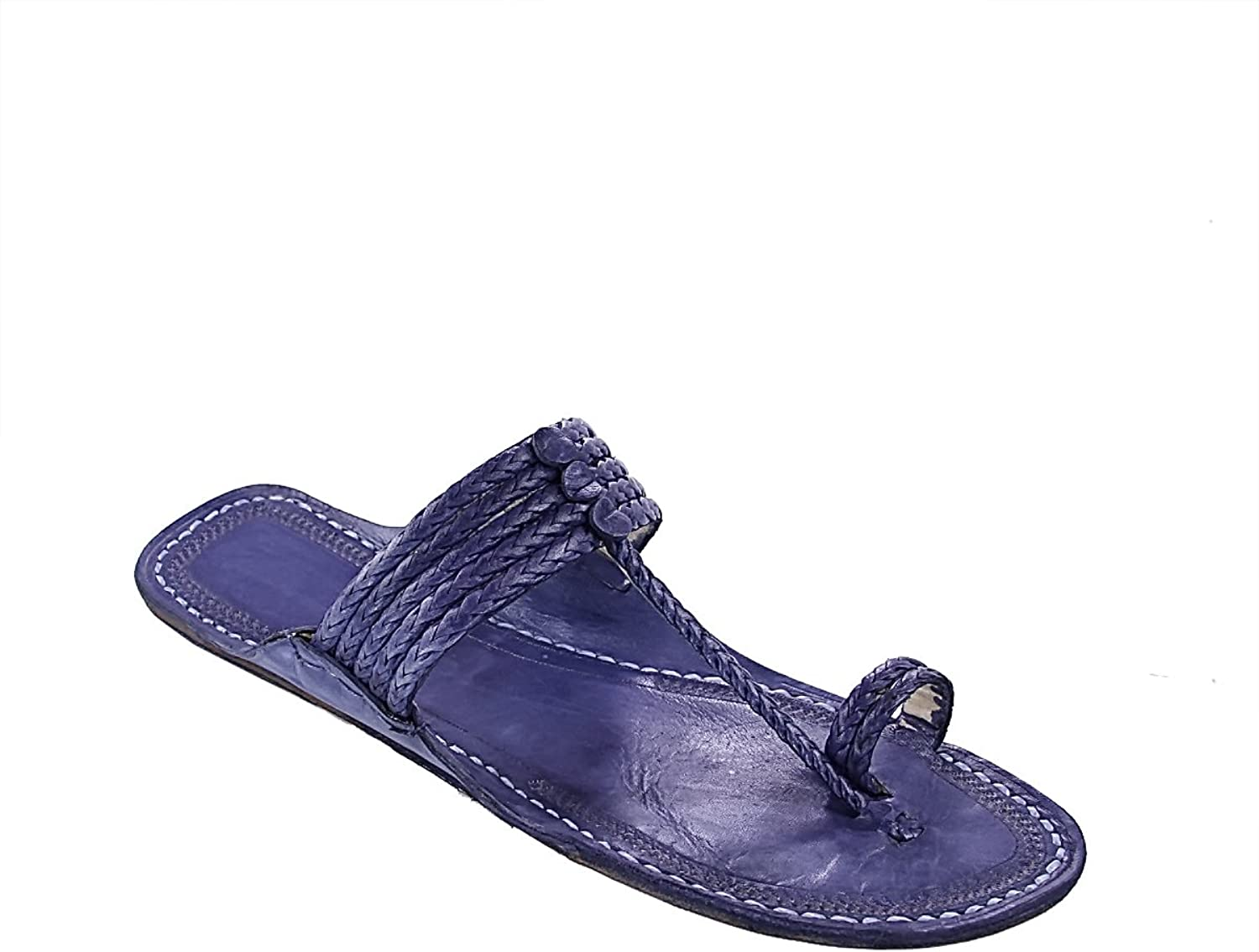 KOLHAPURI CHAPPAL Original Gorgeous Dark bluee Five Braids Kolhapuri Women Chappal Slipper Sandal