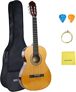HUAWIND Beginner Classical Guitar 36 Inch Nylon Strings Starter Guitar Kit for Students Boy Girl with Carrying Bag Accessories, Natural Gloss