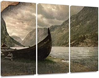 7houarts Old Viking Boat in Gudvangen Village Near Flam, Norway Canvas Wall Artwork Poster Modern Home Wall Unique Pattern Wall Decoration Stretched and Framed - 3 Piece