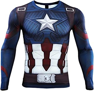 CoolMore Men's Workout Training Shirts Sports Compression Tops Captain America Spider Gym Running Tee