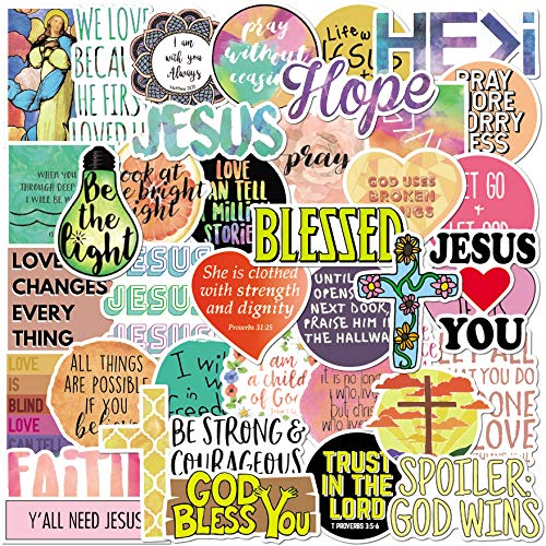 Jesus Christian Stickers Pack 50pcs for Laptop Water Bottles Hydro Flask Phone Suitcase Fridges(50 Pack)