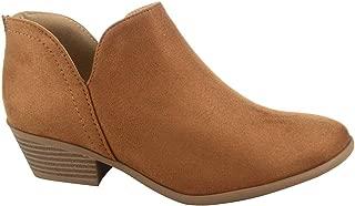 Soda Mafic-s Women's Fashion Low Chunky Heel Almond Toe Zipper Ankle Bootie Shoes