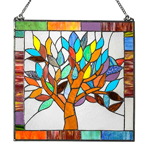 18' H Tiffany Style Stained Glass Mystical World Tree Window Panel