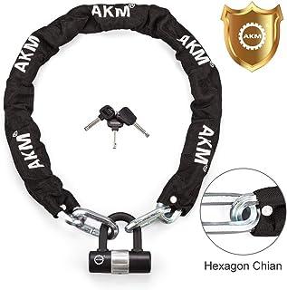 AKM Security Bike Chain Lock Heavy Duty Bicycle Lock Bike Disc Lock with 16mm U Lock,Motorbike Lock Black Key Lock High Safety Level