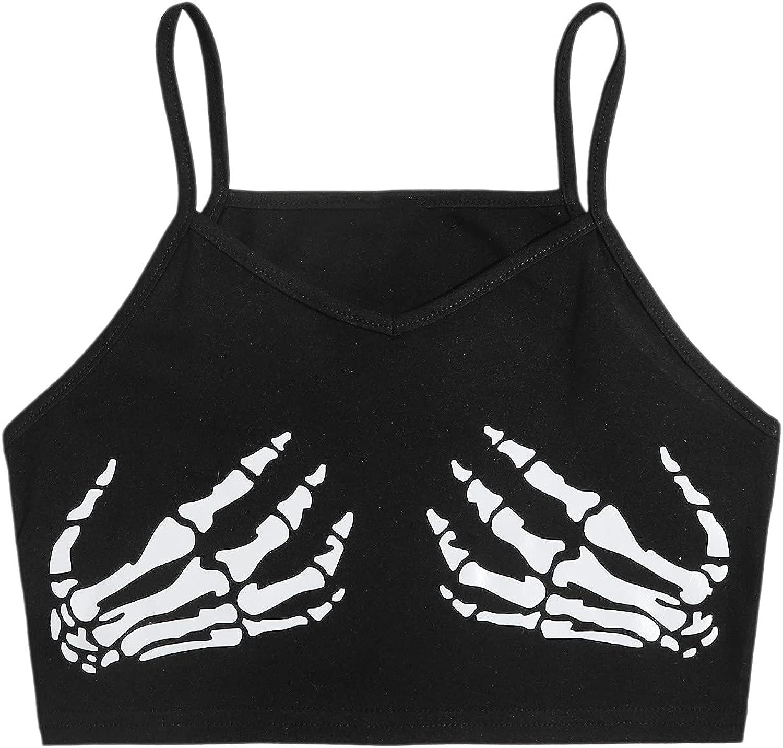 SweatyRocks Women's Sexy V Neck Sleeveless Cami Crop Top Print Camisole Tank