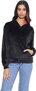Andiamo Fashion Kangaroo Pocket Velvet Hoodie for Women