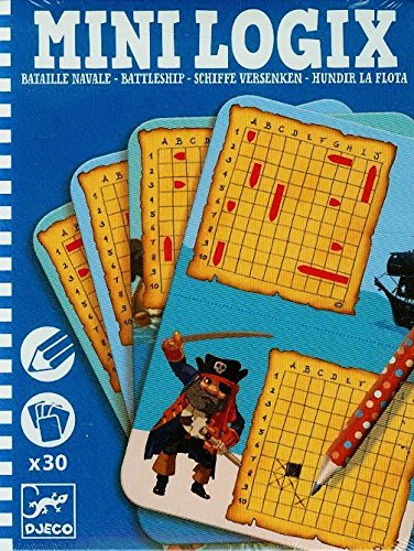 DJECO- Juegos de acción y reflejosJuegos de mesaDJECOMini-logix Hundir la Flota, Multicolor (1)