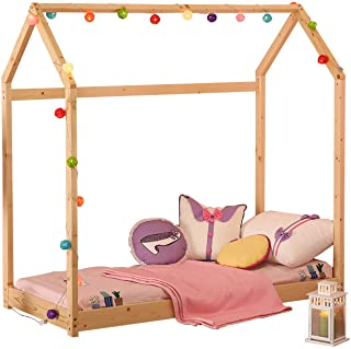 WALCUT Children Bed Frame Twin Size Toddler Wood Kid's House Floor Tent Bedroom Furniture