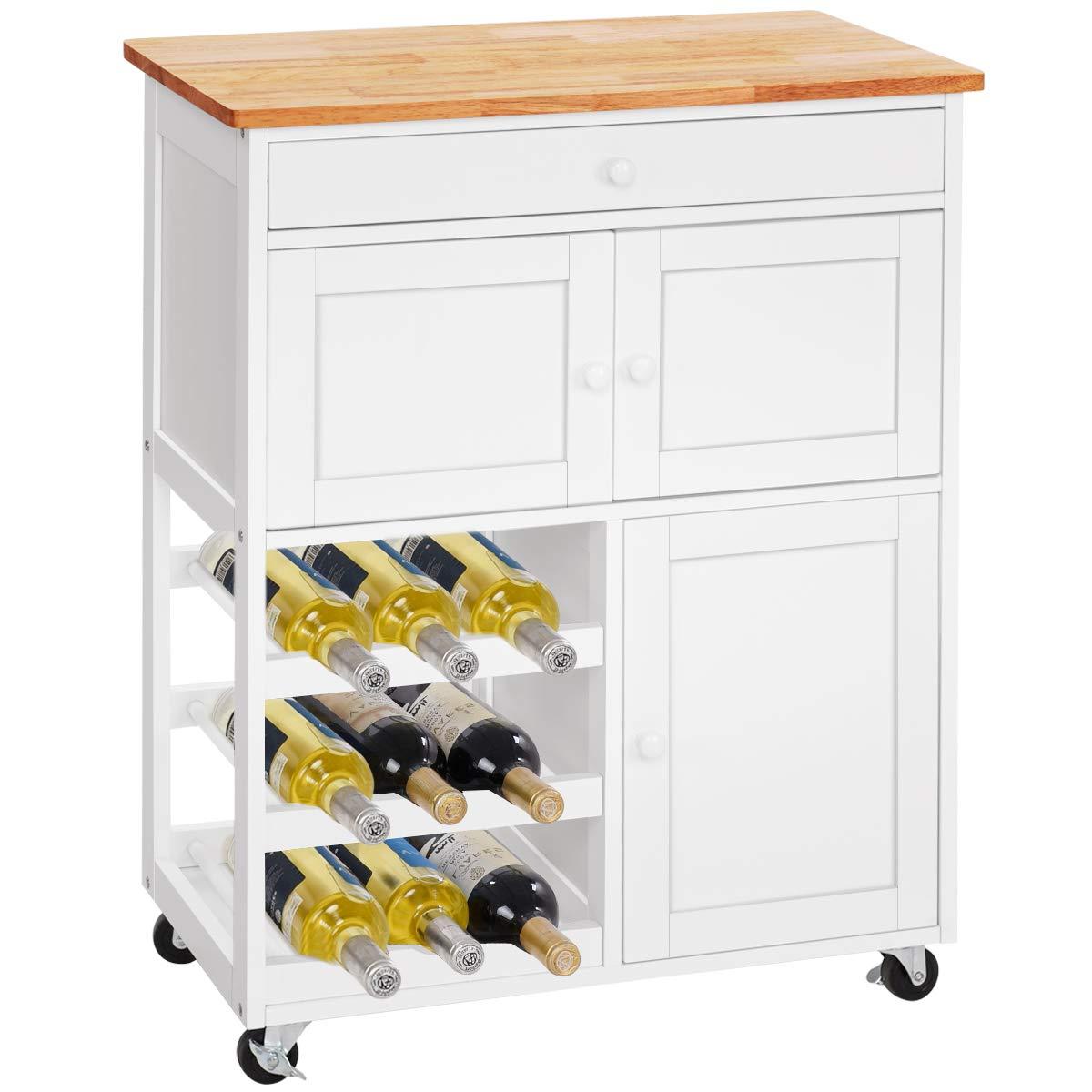DREAMADE Küchenwagen mit Flaschenregal und Schubladen