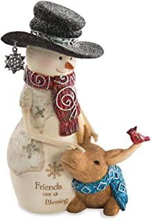 Pavilion Gift Company Friends are a Blessing Snowman and Moose Figurine