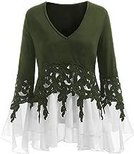 YOcheerful Womens Plus Size Shirt Top Blouse Fall Long Sleeve Mini Dress Holiday Jumper Tunic