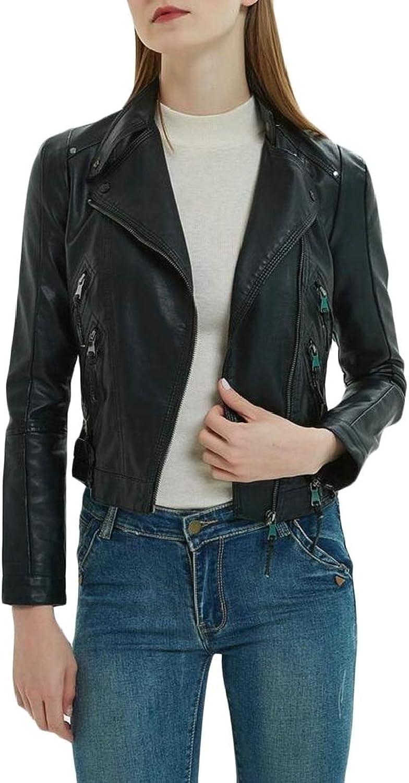 MacondooCA Womens Faux Leather Fashion Biker Lapel Collar Fit Coat Jacket