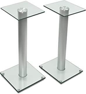 Mount-It! 23 inch Tall Bookshelf Speaker Stands | Satellite Speakers and Surround Sound Systems| Glass and Aluminum, Silver (MI-58SLVR)