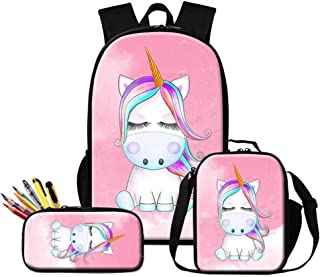 Dispalang Cartoon Backpack for Girls Cute Unicorn Prints School Bag and Lunch Bag Set Children Pencil Bags