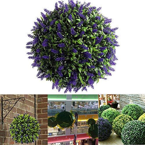 LXING Kunstmatige Paarse Lavendel Hangende Topiary Bal Bloem Plant Decor Mand, Lavendel Lang Blad Topiary Gras Bloembollen - UV-beschermd 25cm/A