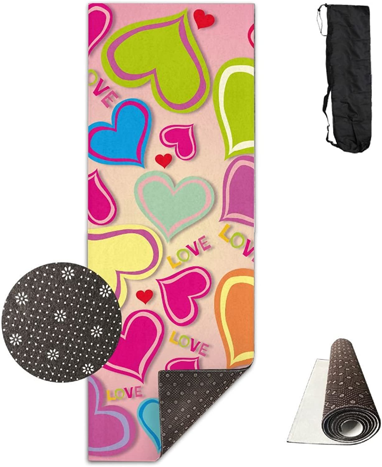 Yoga Mat Non Slip 24  X 71  Exercise Mats Vector Graphics colorful Premium Fitness Pilates Carrying Strap