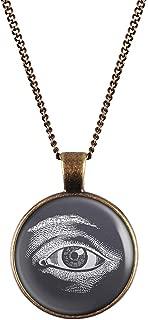 Mylery Necklace Cabochon Picture Eye Illuminati White Black Silver or Bronze 1.1 inch