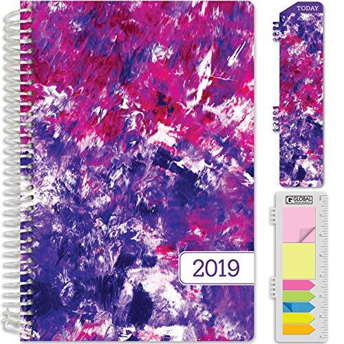 "HARDCOVER Calendar Year 2019 Planner: (November 2018 Through December 2019) 5.5""x8"" Daily Weekly Monthly Planner Yearly Agenda. Bonus Bookmark, Pocket Folder and Sticky Note Set (Purple Art)"