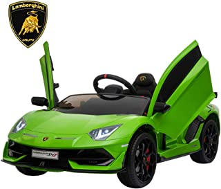 IKON MOTORSPORTS 12V Kids Ride on Car, Licensed Lamborghini Aventador SVJ w/ Remote Control, Suspension, Opening Doors, Power Display & MP3 (Green)