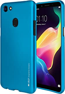 Goospery i-Jelly for Oppo F5 Case (2017) with Screen Protector Slim Thin Rubber Case (Metallic Blue) OPPOF5-IJEL/SP-BLU