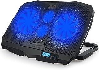 مروحة تبريد هادئة للاب توب من رايمون مزودة بمخرجين USB لحامل لاب توب مزود بشاشة ال سي دي LCD واضاءة LED زرقاء مقاس 10-15.6...